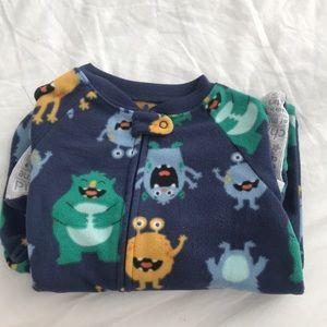 Toddler footie pajamas + 3T + monsters